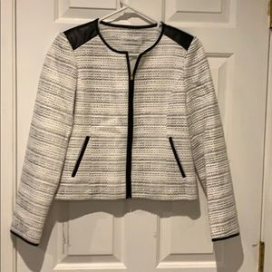 White Blazer with faux leather accents